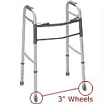 "Dual Release Folding Walker with 3"" Wheels"