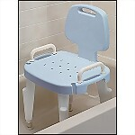 Deluxe Bath Chair w/ Arms & Back, BLUE