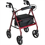 "Aluminum Rollator with Fold Up and Removable Back Support, Removable 7.5"" Wheels, Padded Seat and Loop Locks"