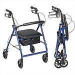 "Aluminum Rollator with 6"" Wheels, Padded Seat & Removable Padded Backrest"