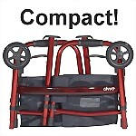 Deluxe Folding Travel Walker, Red