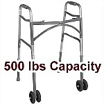 "Bariatric Two-Button Folding Walker, 5"" Wheels"