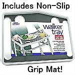 Tool Free Walker Tray with Non-Slip Grip Mat, GRAY
