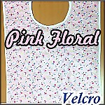 Woman's Flannel Quilted Adult Bib, Velcro, Pink Floral