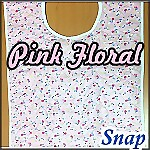 Woman's Flannel Quilted Adult Bib, Snap, Pink Floral