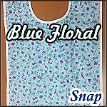 Woman's Flannel Quilted Adult Bib, Snap, Blue Floral