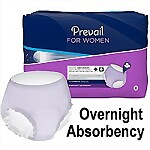 Prevail® for Women, Overnight Absorbency Underwear, LARGE, 64/Case