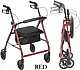 Red Aluminum Rollator Walker with Wheels