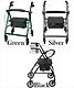 Silver Green or Black Aluminum Rollator Walker with Wheels