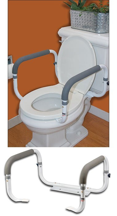 toilet safety rails with cushion hand grips