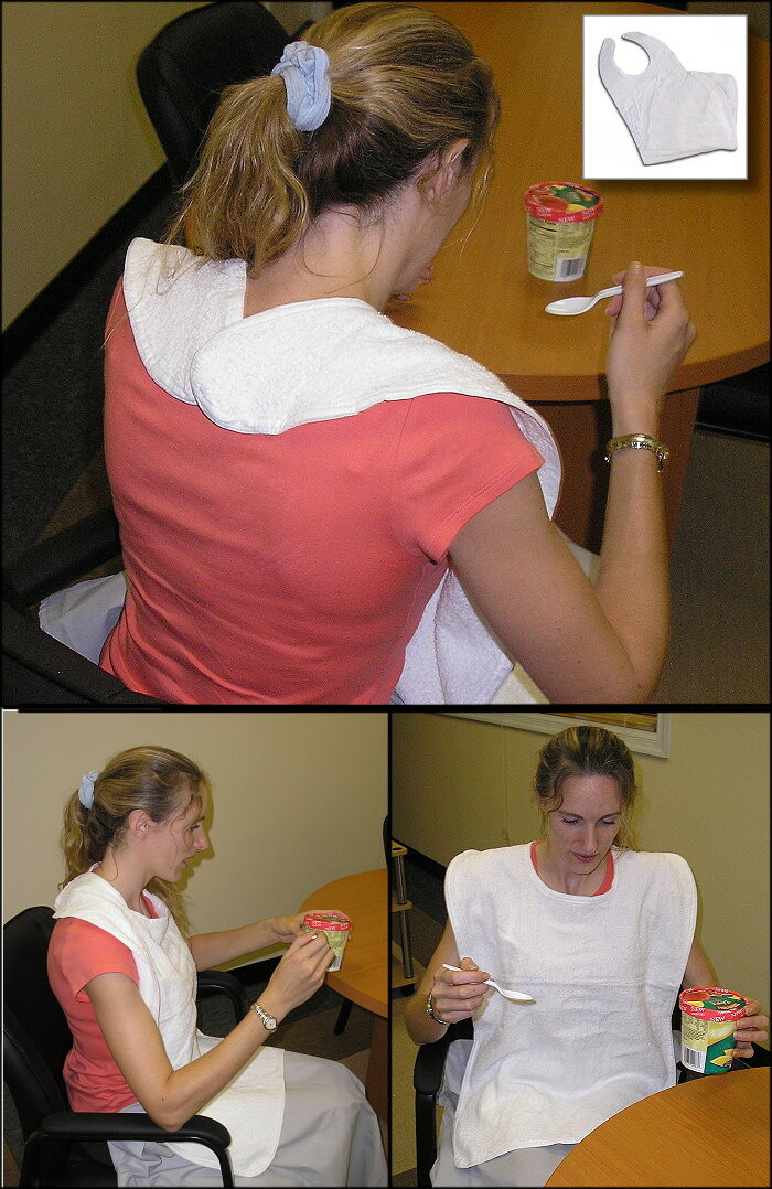 Self Tie or Over Shoulder Adult Bib (no ties, snaps, or hook-and-loop fasteners)