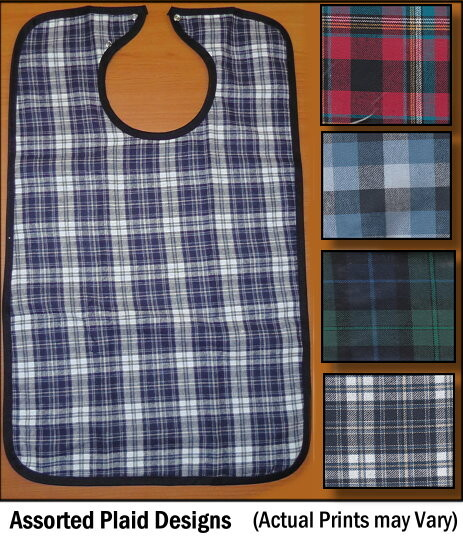 Assorted Plaid Adult Bibs