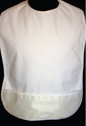 terry cloth adult bib with catch pocket