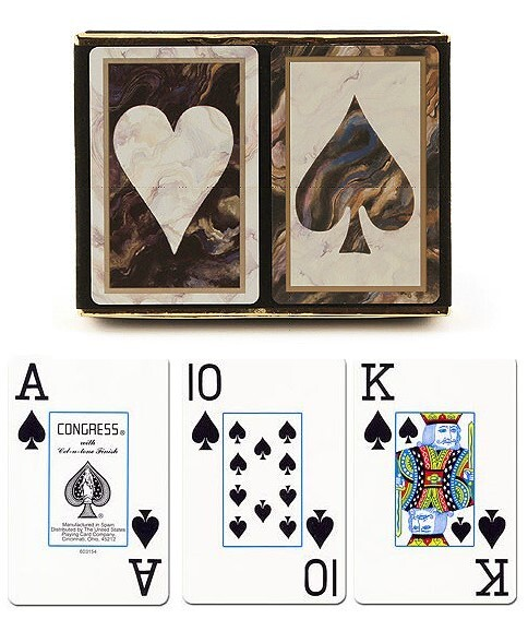 Congress Black Marble Jumbo Face Playing Cards