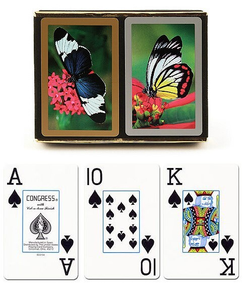 congress butterfly delight playing cards with large print