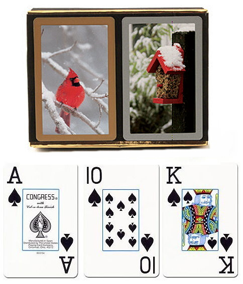 congress winter scene playing cards with large print