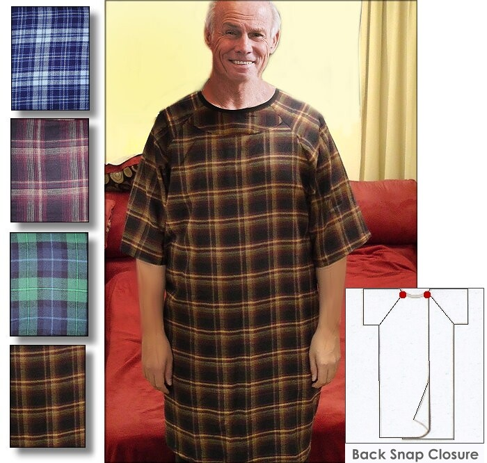mens flannel warm hospital gown