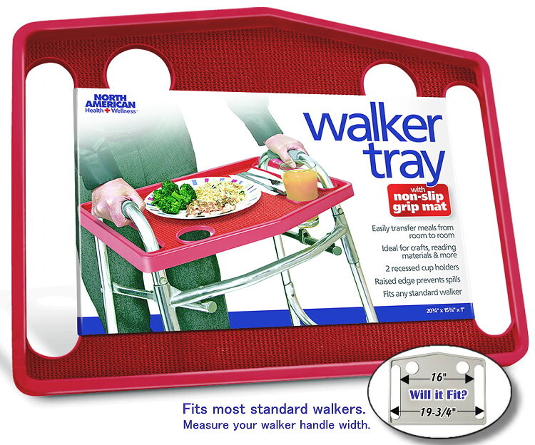 Red Walker Tray with Non-Slip Grip Mat
