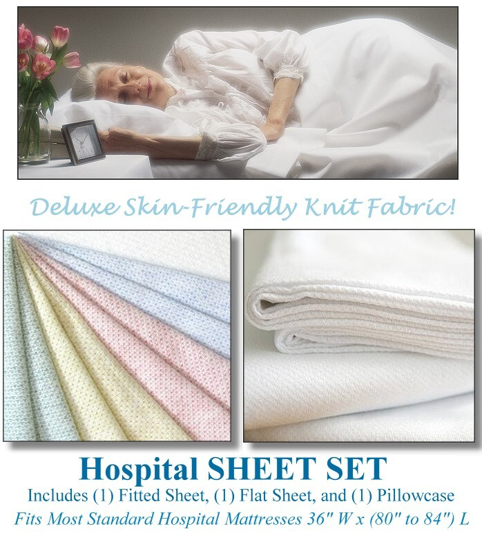 Color Jersey or Knitted Hospital Bed Sheet Set