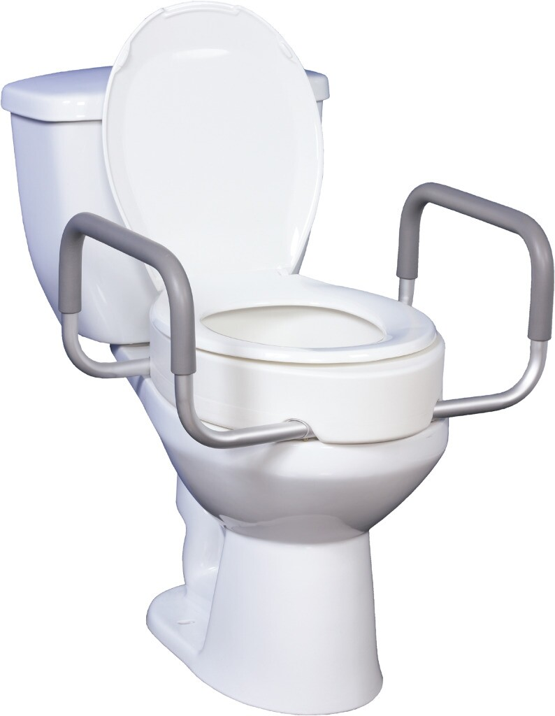 round toilet seat riser with armrests