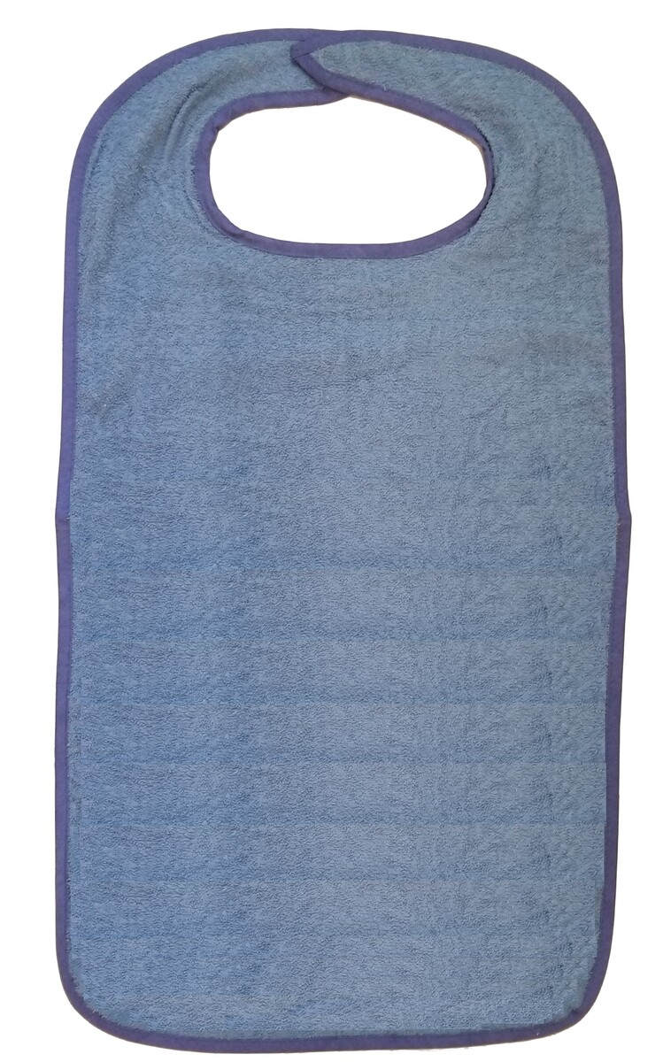 blue terry cloth adult bib