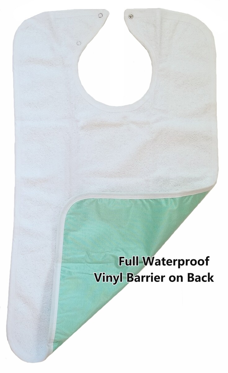 deluxe terry cloth adult bib with waterproof vinyl barrier