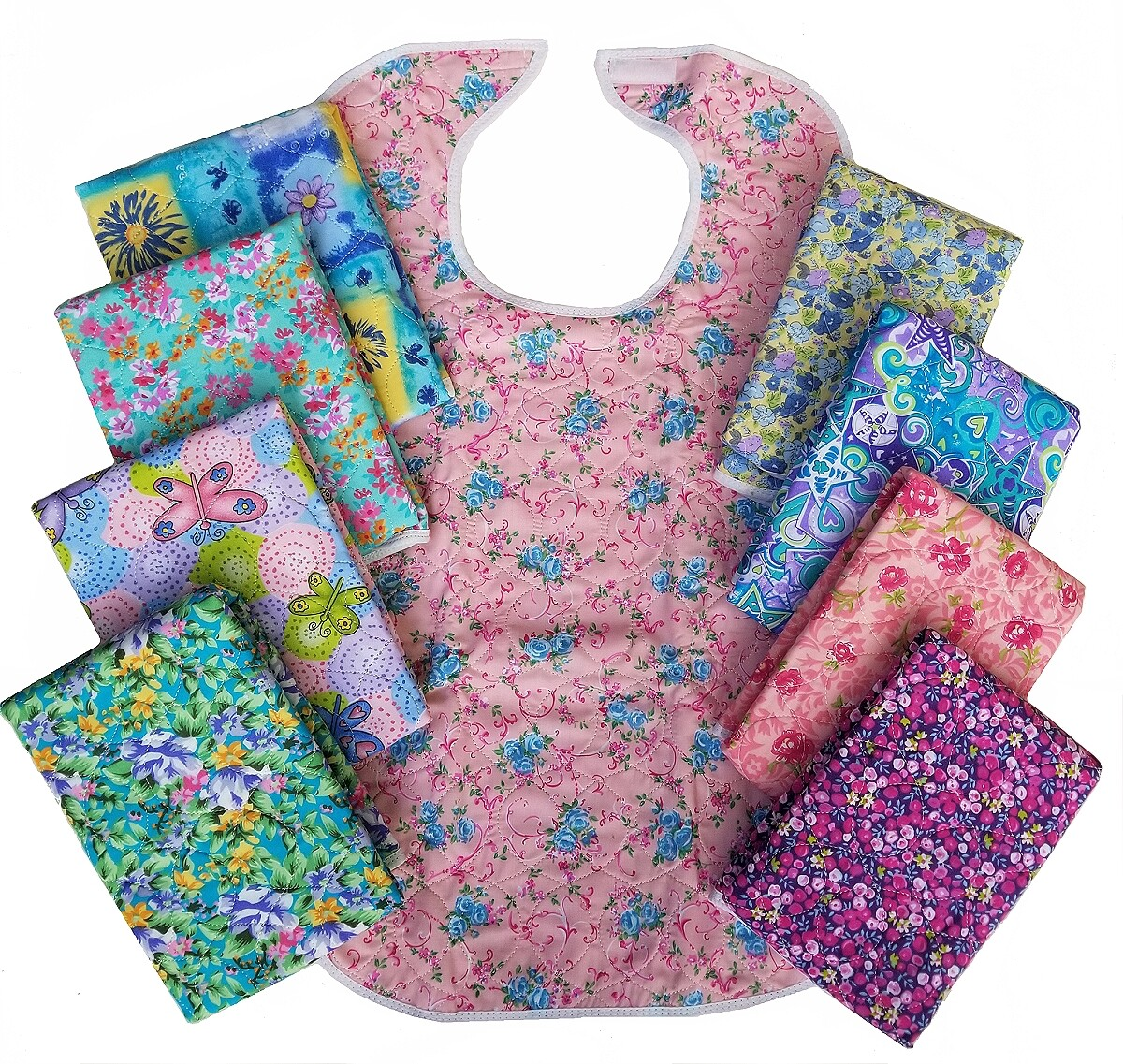 floral adult bibs and clothing protectors
