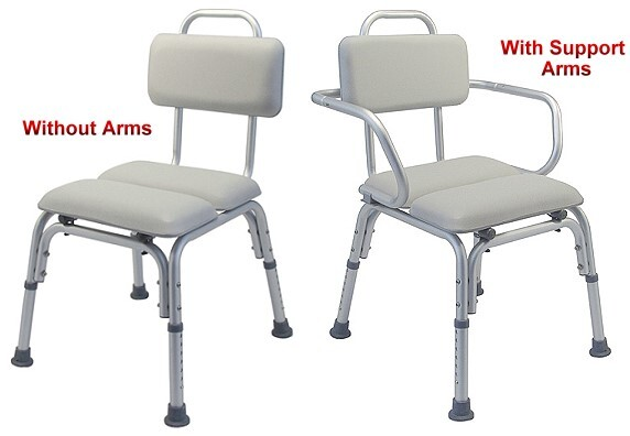 deluxe padded bath chair with or without arms