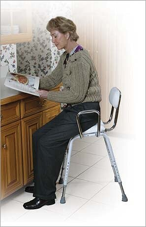 all purpose perching stool with adjustable arms