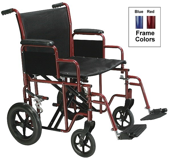 bariatric heavy duty steel transport chair for up to 450 pounds