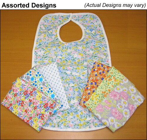 floral flannel adult bibs and clothing protectors