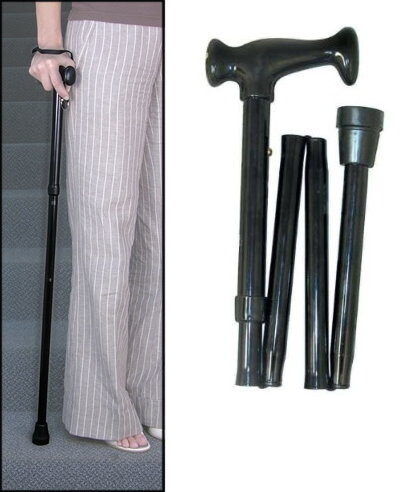 black adjustable folding cane