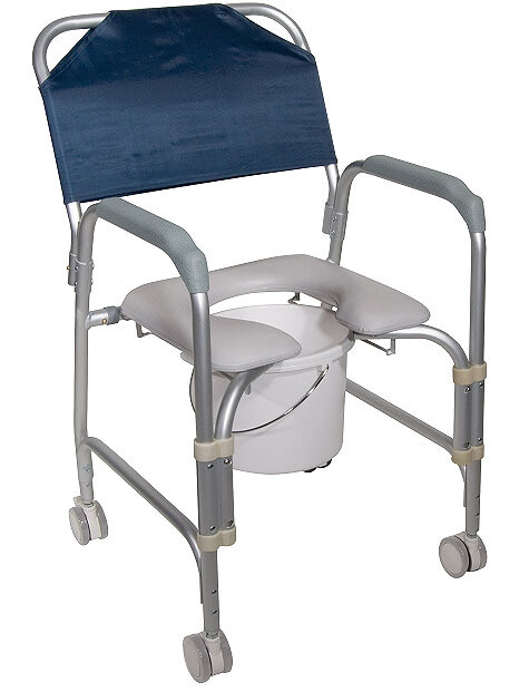Aluminum Shower Chair and Commode with Casters,