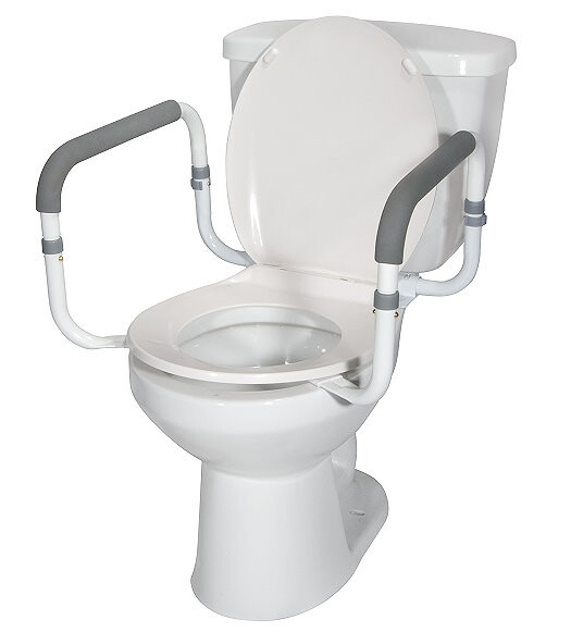 Toilet Support Rails With Padded Handles