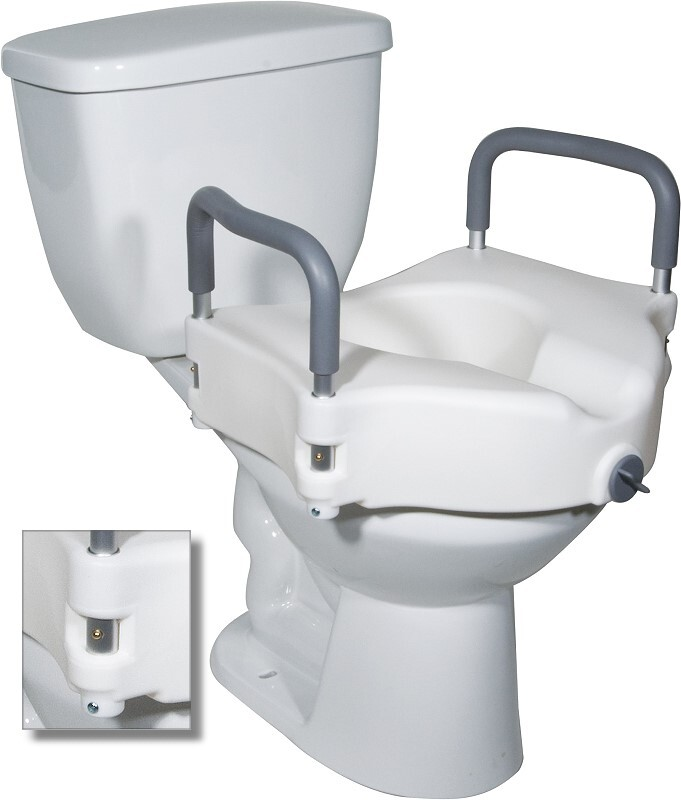 2 in 1 Locking Raised Toilet Seat with Tool-free Removable Arms