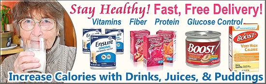 Nestle Boost Drinks, Puddings, and other Nutritional Supplements for Seniors.