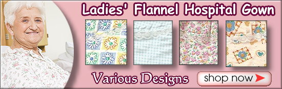 Women's Designer Flannel Floral Hospital Patient Gowns for Seniors, the Elderly and Disabled.