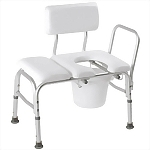 Deluxe Padded Transfer Bench with Commode Seat & Bucket