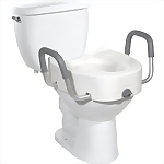 "5"" Elevated Locking Toilet Seat with Armrests, Elongated"
