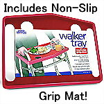 Tool Free Walker Tray with Non-Slip Grip Mat, RED