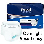 Prevail® for Men, Overnight Absorbency Underwear, LARGE/X-LARGE, 64/Case