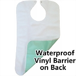 Deluxe 100% Terry Cloth Adult Bib with Full Waterproof Barrier, WHITE