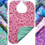 Ladies' Floral & Print Design Quilted Adult Bib
